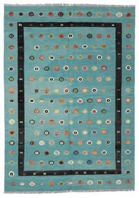 キリム Nimbaft 絨毯 208X292 モダン 手織り ターコイズ/黒 (ウール, アフガニスタン)