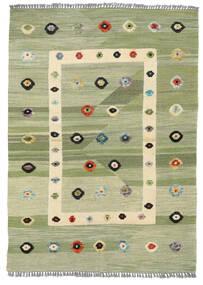 キリム モダン 絨毯 107X151 モダン 手織り ライトグリーン/ホワイト/クリーム色 (ウール, アフガニスタン)