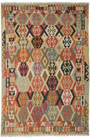 キリム アフガン オールド スタイル 絨毯 205X311 オリエンタル 手織り 深紅色の/暗めのベージュ色の (ウール, アフガニスタン)