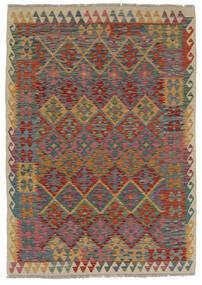 キリム アフガン オールド スタイル 絨毯 124X170 オリエンタル 手織り 濃い茶色/黒 (ウール, アフガニスタン)