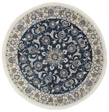 ナイン 絨毯 Ø 150 オリエンタル 手織り ラウンド 黒/ホワイト/クリーム色 (ウール, ペルシャ/イラン)