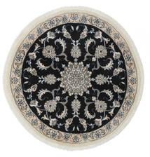 ナイン 絨毯 Ø 100 オリエンタル 手織り ラウンド 黒/ホワイト/クリーム色 (ウール, ペルシャ/イラン)