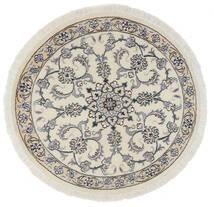 ナイン 絨毯 Ø 100 オリエンタル 手織り ラウンド ホワイト/クリーム色/オリーブ色 (ウール, ペルシャ/イラン)