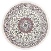 ナイン 9La 絨毯 Ø 145 オリエンタル 手織り ラウンド ホワイト/クリーム色/薄い灰色 (ウール/絹, ペルシャ/イラン)