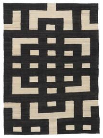 キリム モダン 絨毯 132X177 モダン 手織り 黒/薄茶色 (ウール, アフガニスタン)