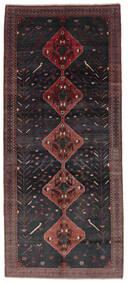 ハマダン 絨毯 156X361 オリエンタル 手織り 廊下 カーペット 黒/濃い茶色 (ウール, ペルシャ/イラン)