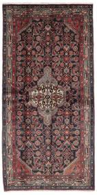ハマダン 絨毯 106X217 オリエンタル 手織り 黒/濃い茶色 (ウール, ペルシャ/イラン)