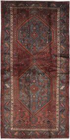ハマダン 絨毯 111X226 オリエンタル 手織り 黒/濃い茶色 (ウール, ペルシャ/イラン)