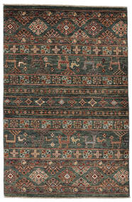 Shabargan 絨毯 89X135 モダン 手織り 黒/濃い茶色 (ウール, アフガニスタン)