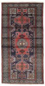 ハマダン 絨毯 106X196 オリエンタル 手織り 黒/濃い茶色 (ウール, ペルシャ/イラン)