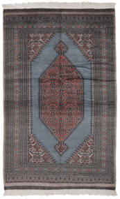 パキスタン ブハラ 2Ply 絨毯 130X200 オリエンタル 手織り 黒/濃い茶色 (ウール, パキスタン)