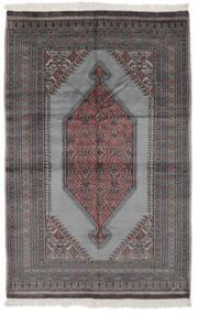 パキスタン ブハラ 2Ply 絨毯 126X194 オリエンタル 手織り 黒/濃いグレー (ウール, パキスタン)