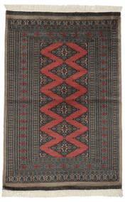 パキスタン ブハラ 2Ply 絨毯 94X140 オリエンタル 手織り 黒/濃いグレー (ウール, パキスタン)