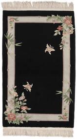 中国 90 Line 絨毯 91X152 オリエンタル 手織り 黒 (ウール, 中国)