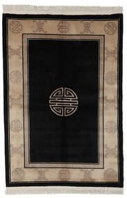中国 90 Line 絨毯 140X200 オリエンタル 手織り 黒/濃い茶色 (ウール, 中国)