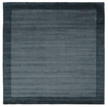 ハンドルーム Frame - Petrol 青 絨毯 300X300 モダン 正方形 黒/紺色の 大きな (ウール, インド)