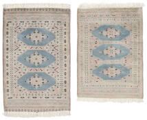パキスタン ブハラ 2Ply 絨毯 62X88 オリエンタル 手織り ホワイト/クリーム色/薄茶色 (ウール, パキスタン)